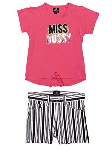dollhouse Girls' Comfy 2-Piece Summer Outfit with Denim Shorts and Knit Top, Pink Miss Bossy, Size 10/12' ()