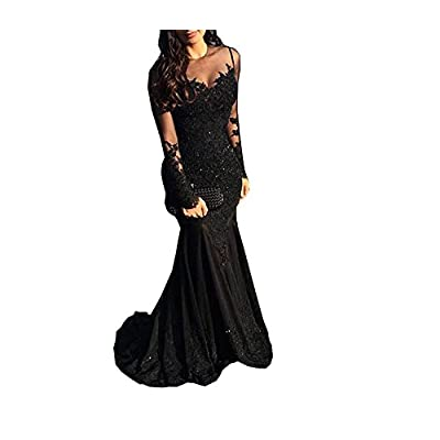 Nina Ding Long Sleeve Black Mermaid Prom Dresses Sequins Lace Formal Evening Gowns NND014 at Women's Clothing store