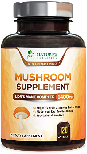 Mushroom Supplement - Premium Blend with Lions Mane, Reishi, Chaga - Nootropic Brain Supplement & Immune System Booster - Made in USA - Promotes Energy, Focus & Stress Relief - 120 Capsules