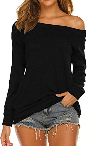 Off Shoulder Tunic Tops for Women Long Sleeve Banded Hem (M, Black)