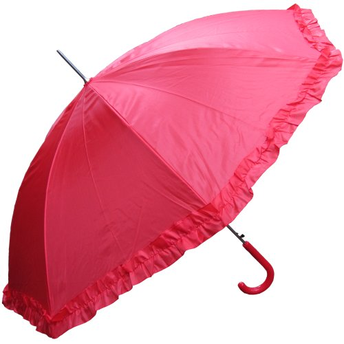 RainStoppers Women's Open Parasol Umbrella with Ruffle, Red, - Parasol Ruffle