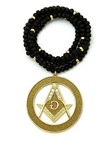 Werrox New Freemason Masonic 2 Tone Round Pendant 6mm/30 Wooden Bead Chain Necklace | Model NCKLCS - 6913 |