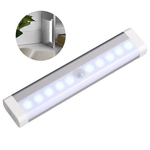 LEDGLE 0.6W Rechargeable Smart Cabinet Lights Portable Light Activated Lamps for Closets, Motion Sensor, 10 LED Beads, USB Charging, 120° Sensing Angle, 6000K, Long Sensing Range