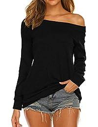 Women's Long Sleeve/Short Sleeve Boat Neck Off Shoulder Blouse Tops