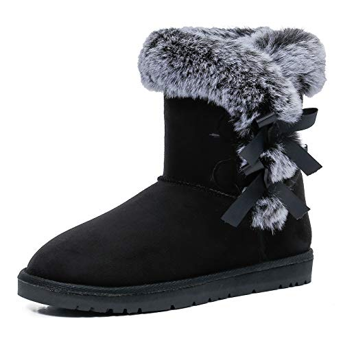 WFL Women Snow Boots Classic Mid-calf Fur Lining Fashion Winter Boots