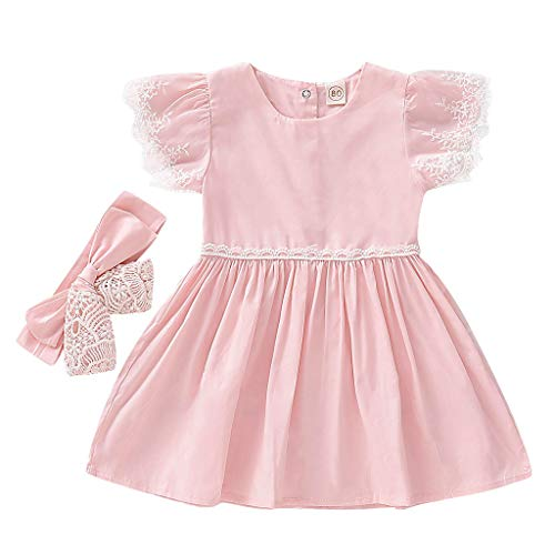 (LiLiMeng Baby Kid Girl Toddler Elegant Soild Short Lace Fly Sleeve Ruffle Ruched Party Dresses+Hairband Birthday Clothes Pink)