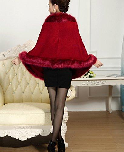 Chale femmes Faux Manteau tricot Cape manteau Bordeaux cape PLAER aux Fur Fox waFZ1XTqq