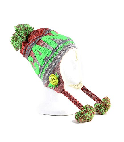 Robin Ruth - Red & Lime Canada Pom Pom Tuque With Fur