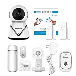 Toogoo Wifi Camera Kit Home Security Pan Tilt Camera System With 2 Pack Door Window Sensors And Pir Detector Wireless Doorbell Night Vision Two Way Audio Us Plug