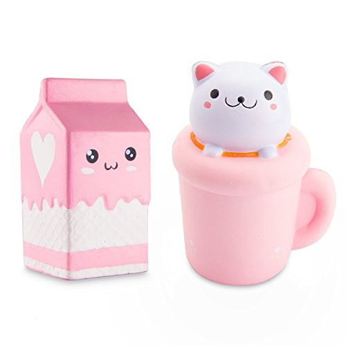 WATINC Jumbo 2pcs Animal squishies Cat cup & milk Squishies Slow Rising Sweet Scented Vent Charms Kawaii Kid Toy Hand Wrist Toy Gift, Stress Relief Toy Lovely Toy, Fun Large