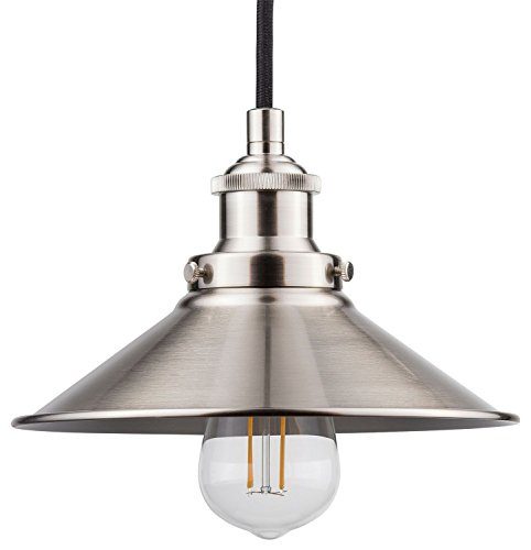 al Kitchen Pendant Light – Brushed Nickel Hanging Fixture - Linea di Liara LL-P407-LED-BN (Nickel Hanging)