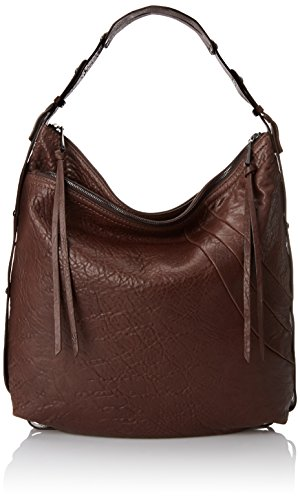 Chocolate Leather Zip Hobo Bag - 2