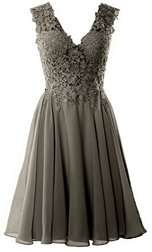 Lace Short Gorgeous Prom MACloth Gown Formal V Neck Pewter Homecoming Dress Cocktail nUYqfwOx