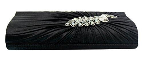Pleated Handbag Satin Black Peacock Bag Clutch Evening Chain Shoulder Rhinestone bag Women Purse Zd48Z