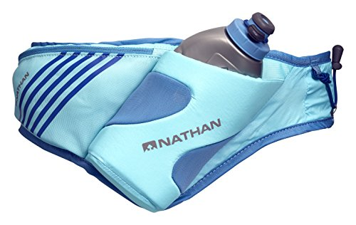 Nathan NS4873 Peak Running Fitness Belt Fanny Pack with 18oz Water Bottle Flask & Pockets, Blue Radiance, One Size