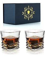 Whiskey Bril Set van 2 - 300 ml/10 oz Luxe Bourbon Scotch Cognac Irish Whisky Bril Tumblers - Perfect Drinkglaswerk Gift Set Box voor Mannen Papa Man Whiskey Lovers Vaderdag Verjaardag
