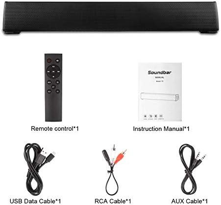 Bluetooth Speaker, Bluetooth 5.0 Sound Bar, Wireless Sound Bar, Stereo USB Powered 17-Inch Soundbar for PC Tablets Desktop Cellphone Computer[RCA, AUX](Black) 41j30qs3QjL