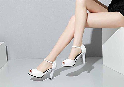 2018 Nuovo Sandali Caviglia Cinturino Estate Bianca Peep Toe Pompe Cavo Moda Pelle Fibbia Alto Donne Alla Primavera Tacco qvtY8