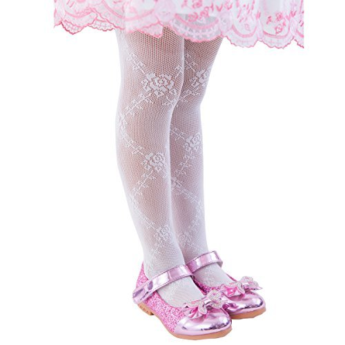 (FUN fun lace fishnet tights(Rose pattern) Kids Girls; White 34-53inch)
