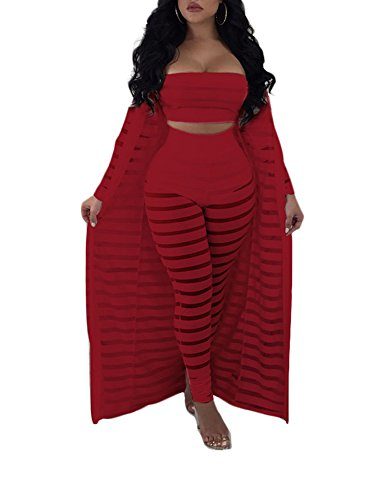 Ophestin Women Sheer Mesh Tube Top Long Pants Bodycon 3 Piece Cardigan Outfits Jumpsuits Set Red XL