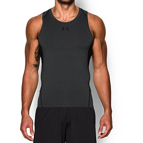 Under Armour Men's HeatGear Armour Compression Tank, Carbon Heather/Black, Medium