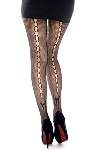 Yelete Killer Legs Women's One/Plus Size Patterned Fishnet Tights Stocking Pantyhose (Plus Size, KeyHole Butterfly)