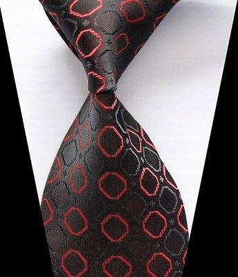 [Calvinci - New Classic Black&Red Plaids Tie WOVEN JACQUARD Silk Men's Suits Ties NecktieYRS 1432] (Classic Playboy Bunny Costume Black)