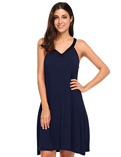 Goldenfox Womens V-Neck Sweat Sleeping Dresses For Women Plus Size (Navy Blue,XL)