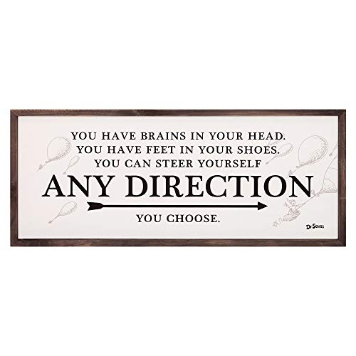 Dr Seuss Signs (Patton Wall Decor 31x13 Dr. Seuss Any Direction You Choose Framed Wood Wall Decor,)