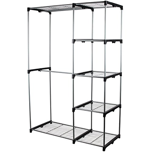 Double Rod Portable Clothes Storage Rack Freestanding Closet