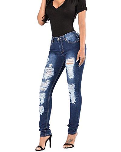 Donna Stretti Jeans Fori Elastico Sottile Denim Pantaloni dritti Aspicture