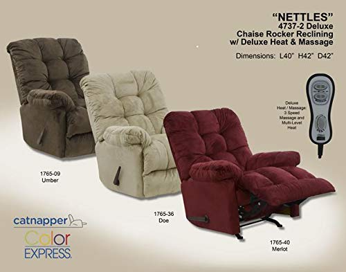 Micro Suede Rocker - Catnapper Nettles Chaise Rocker Recliner w/ Heat & Massage - Umber