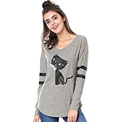 Allegra K Women's V Neck Drop Shoulder Striped Cat Print Tunic Top XL Grey