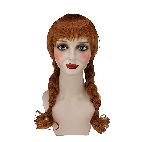 CrazyCatCos Annabelle Wig Brown Double Tails Hair Cosplay and Halloween Wig -