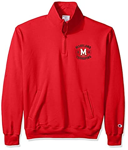 NCAA Maryland Terrapins Men's Power Blend Fleece Quarter-Zip Jacket, Small, Scarlet - Maryland Terps Ncaa Basketball