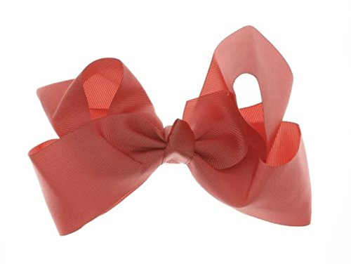 Bon Bonito Girls Hair Bows Extra Large with Alligator Clip Available in 29 Colors (Coral)