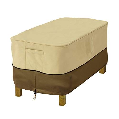 Classic Accessories Veranda Rectangular Patio Ottoman/Side Table Cover – Durable and Water Resistant Outdoor Furniture Cover, Small (71992)