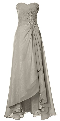 MACloth Silber Simple Party Strapless Dress Hi Prom Wedding Elegant Gown Formal Lo rqTRrZ