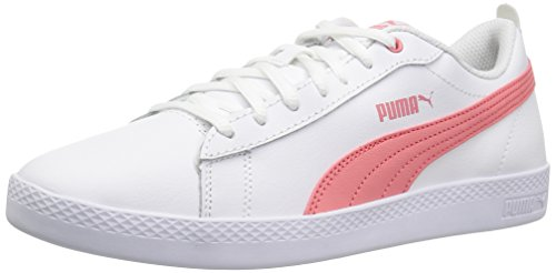 PUMA Women's Smash WNS v2 Leather Sneaker, White-Shell Pink, 9 M US (Shoes Pink Leather White)