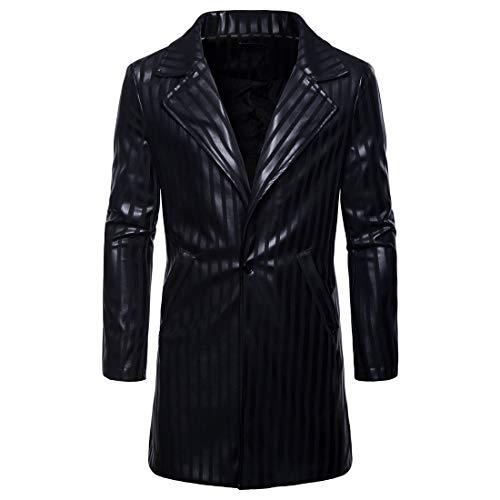 (WULFUL Mens Coat Overcoat Casual Stripe Lapel Faux Leather Classic Mid Length Jacket Coat Trenchcoat/M Black)