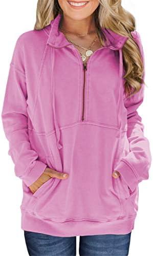 VICHYIE Women Long Sleeve Zipper No Hoodie Sweatshirts Stand Collar Pullover TopsPocket