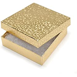 "Darice Jewelry Boxes 3.5""X3.5""X7/8"" 6/Pkg-Gold"