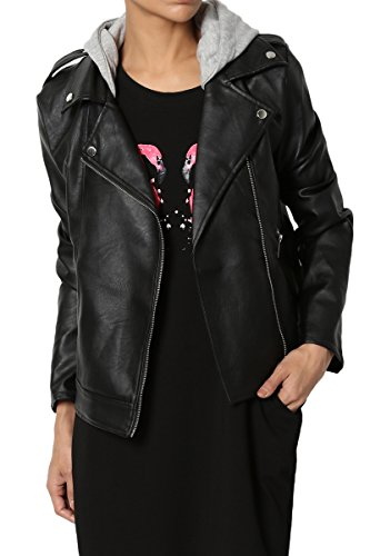 Doma Leather - TheMogan Junior's Moto Biker Hooded Notch Lapel Faux Leather Jacket Black S