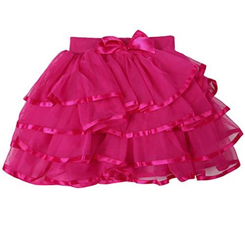 (storeofbaby Toddler Tutu Skirt 4-Layered Princess Party Pettiskirt Ballerina Skirts Rose)
