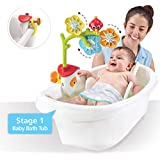 Yookidoo Baby Bathtub Mobile - Spinning Flowers and Swiveling Fountain for Newborn Bathtime Sensory Development - Attaches to Any Size Tub Wall