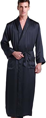 LilySilk Mens Real Silk Robe 22 Momme Bath Robes Luxury Contrast Full Length 100 Silk Male Long