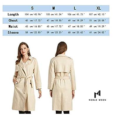 NOBLEMOON Women's Lapel Trench Coat, Longline Raincoat Pea Coat with Belt: Clothing
