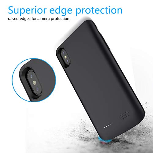 Compatible iPhone Xs Max Battery Case, 6000mAh Extended Battery Rechargeable Backup Fast Charging Case, Impact Resistant Power Bank Juice Full Edge Protection for iPhone Xs Max (Black) by BasicStock (Image #1)