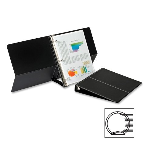 "Cardinal Easel Ring Binder, Vertical - 1"" Binder Capacity - Letter - 8.50"" Width x 11"" Length Sheet Size - 225 Sheet Capacity - 3 x Round Ring Fastener - Vinyl - Black - 1 Each"