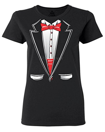 Shop4Ever Tuxedo Costume Women's T-Shirt Funny Shirts Medium Black 0 -